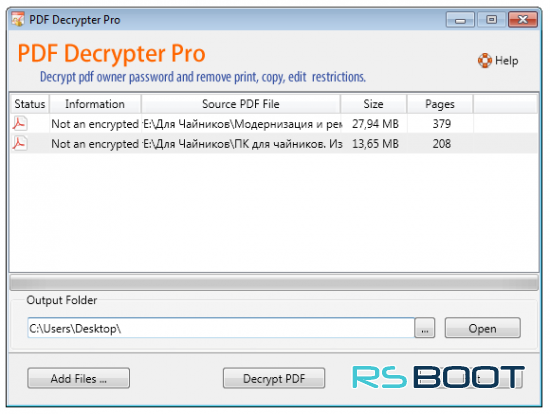PDF Decrypter Pro 4.2.0 (Windows / Mac OS) с ключом